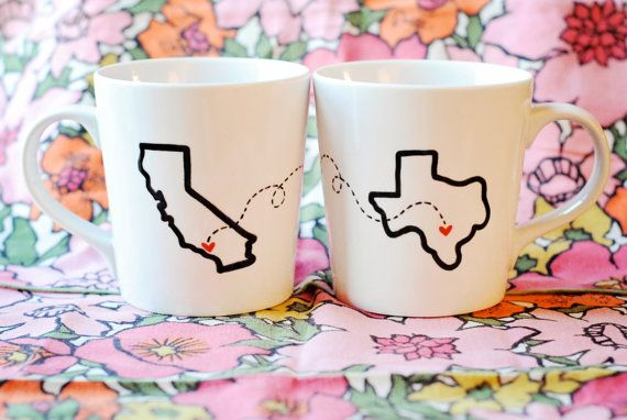 State or Country Heart Mugs-Going Away Present, Going Away Gift, Moving Away, Long Distance Relationship, Adoption Customize by Etsy @Luvocracy |