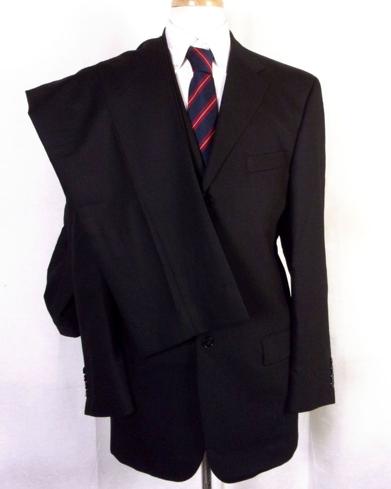 euc Axcess Solid Black 100% Wool Men's 2 Pc Business Suit 3 Button sz 42 L #Axcess #ThreeButton