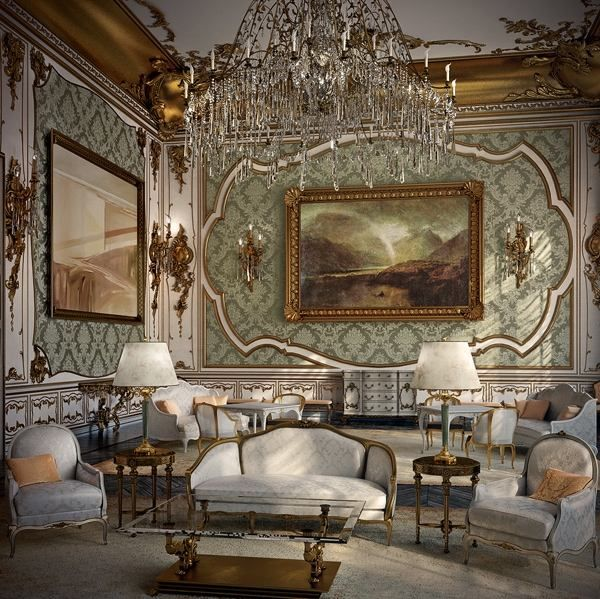 Dekoration Stil Rokoko Moderne Einrichtung Kristall Kronleuchter  Teppichboden