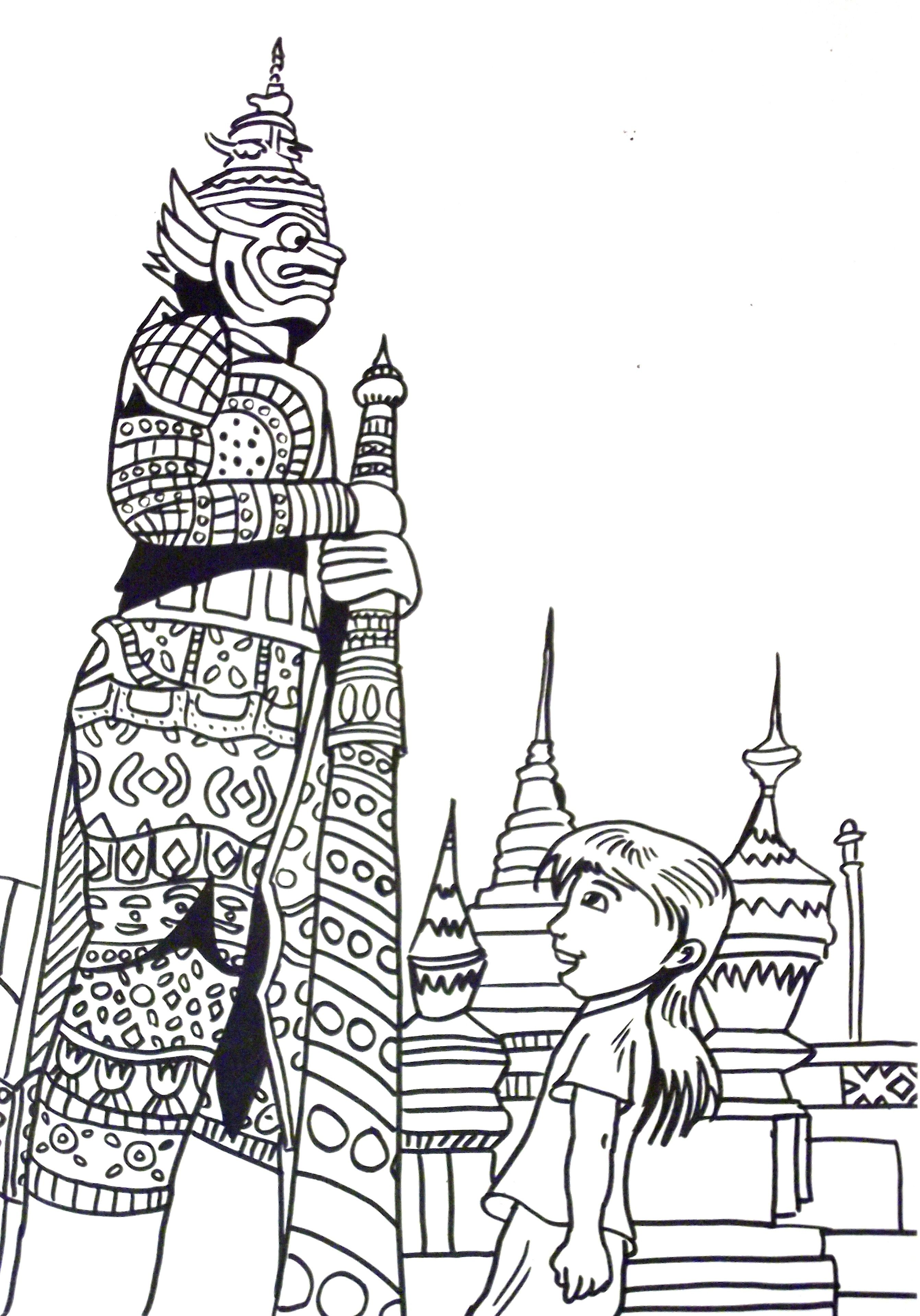 Thailand Coloring Page Thai Child Kid Girl Statues Thailand