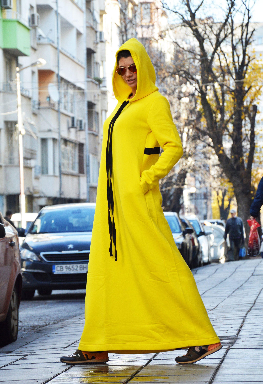 Extravagant oversized hooded dress maxi long dress yellow kaftan