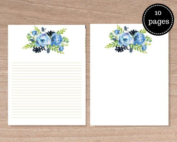 Blue Peony Stationary,  set of 10, floral Writing Paper, Baby shower stationary, Printables, Instant Downloads, Floral Scrapbook kit #bluepeonies