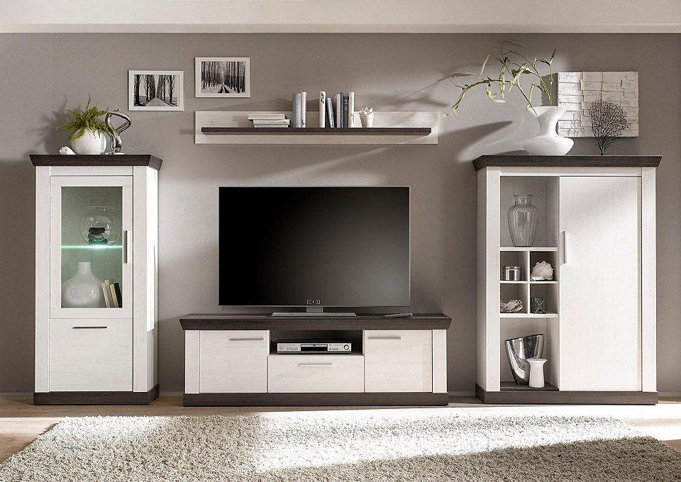 Home affaire Wohnwand (4-tlg) »Siena« Siena - moderner wohnzimmerschrank mit glastüren und led beleuchtung