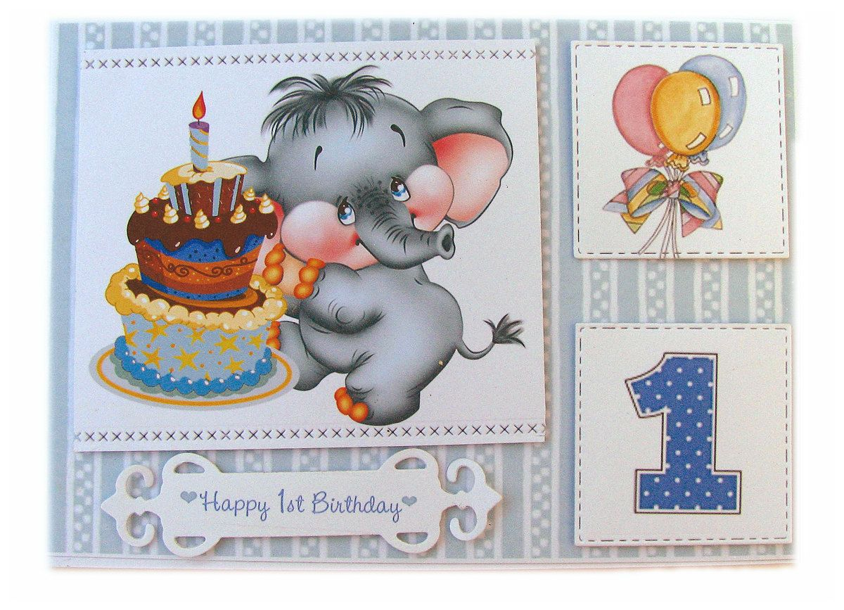 Boys Birthday Card For One Year Old First 1 Elephant 5 X 7