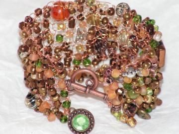 Copper Circles - Hand Knitted Wire Bracelet. Another great bracelet for Fall.