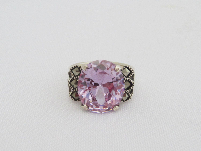 Vintage Sterling Silver Light Purple Amethyst & Marcasite Ring Size 6.25 by wandajewelry2013 on Etsy
