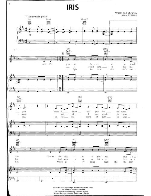 iris goo goo dolls sheet music - Mersn.proforum.co