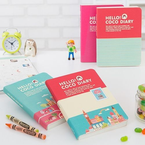 2014 Weekly Planner Journal Organizer, Korean Hello Coco Diary Cute illustration