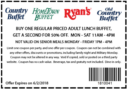 photograph relating to Hometown Buffet Printable Coupons identified as Pinned June 2nd: Instant lunch 50% off at Ryans HomeTown
