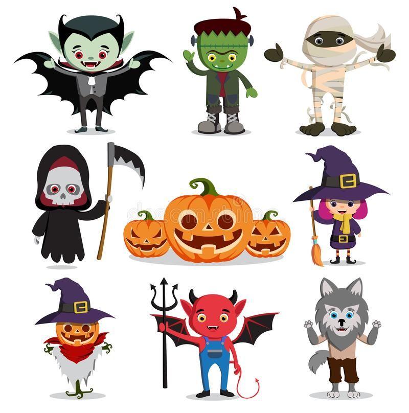 Halloween Vector Characters Set Flat Scary Cartoon Horror