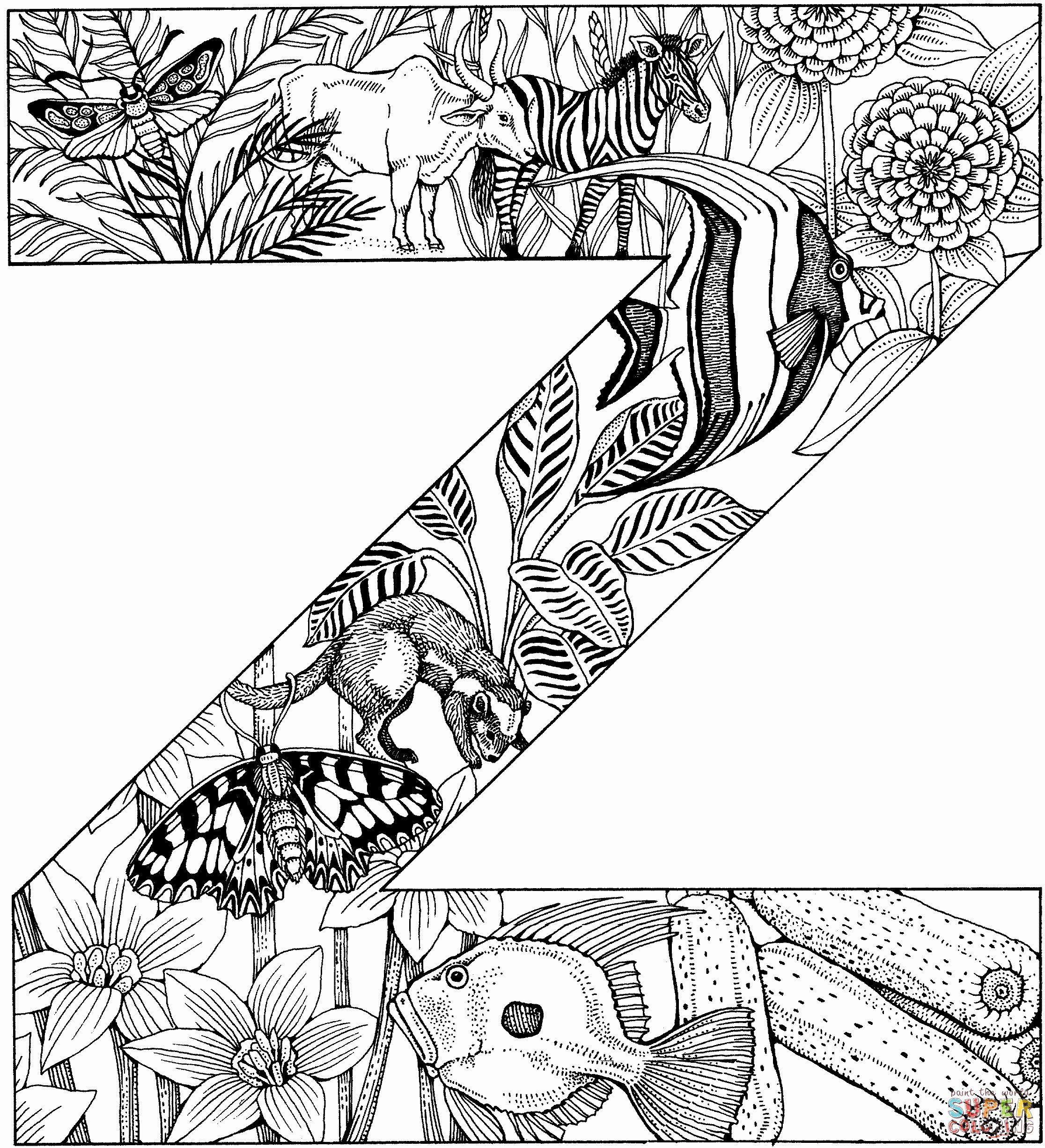 Letter Z Coloring Sheet Fresh Letter Z With Animals Coloring Page