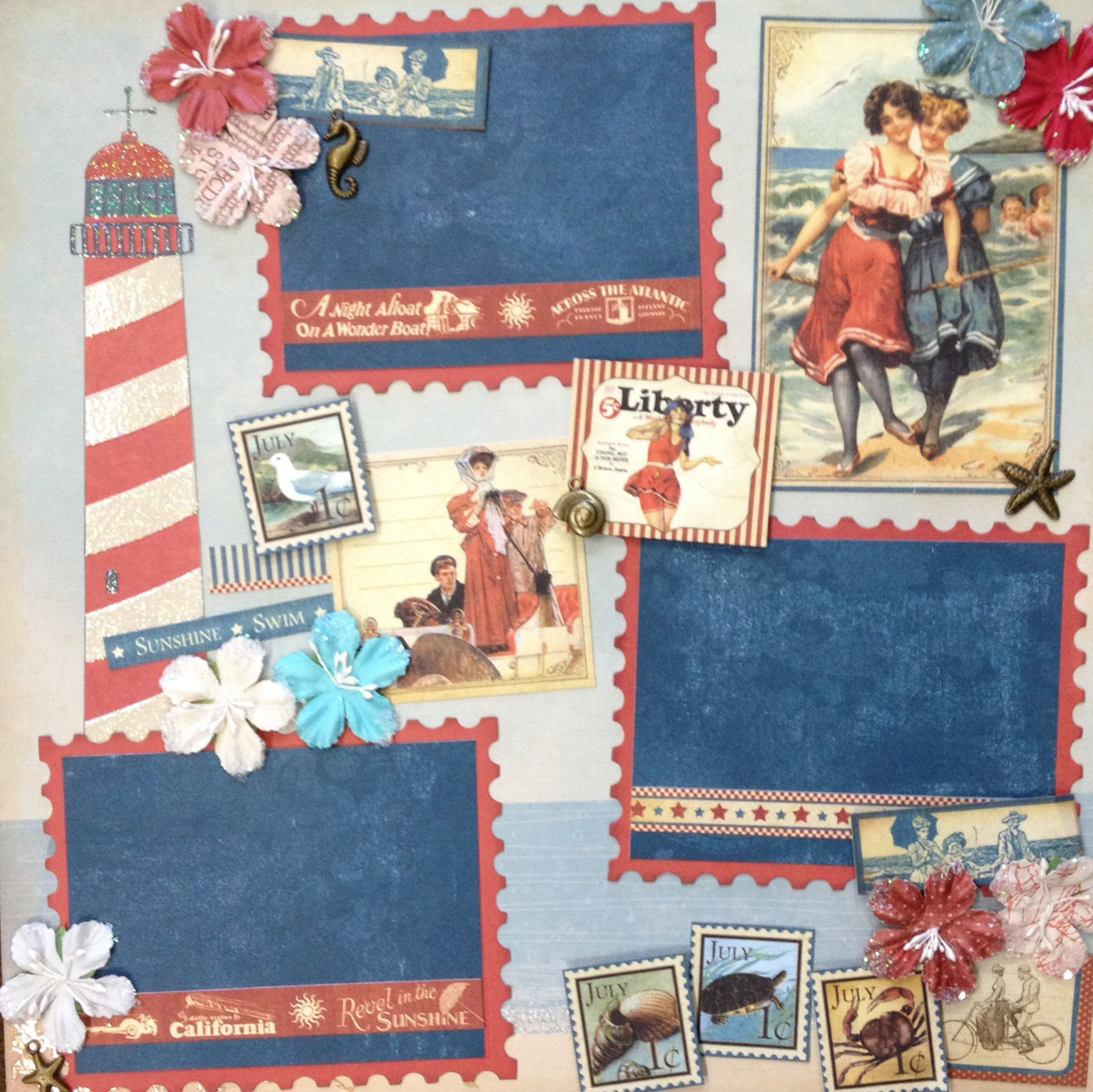 Graphic 45 July 12x12 scrapbook page layout using the Place in Time Collection. We also used Best Creation's paper, Prima flowers, K Co charms, and Sizzix postage stamp die.