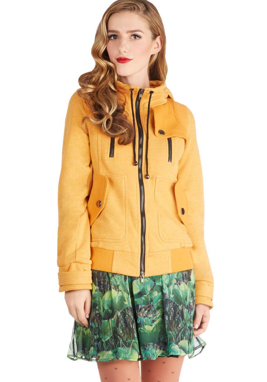 Leipzig Hoodie In Mustard Modcloth Stylish Jackets Vintage Jacket Hoodies