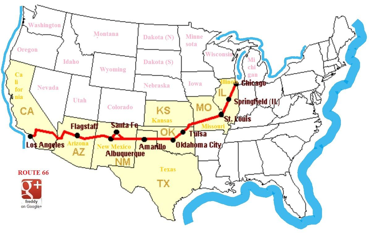 Image result for Route 66 Maps Rt 66 Pinterest Route 66 map