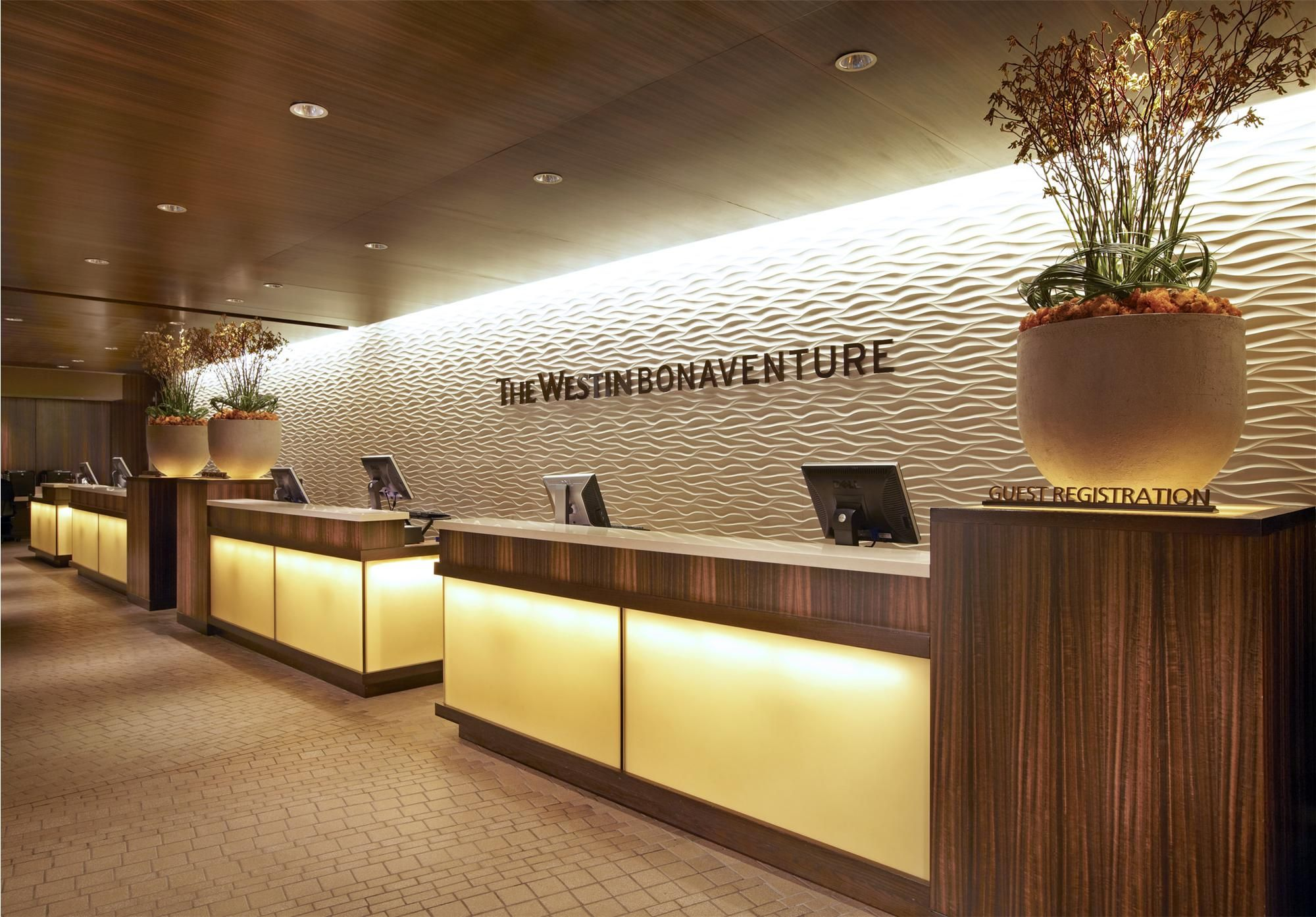 Simple Office Reception Design Downtown Los Angeles Hotels Back Lit Glass Simple Clean