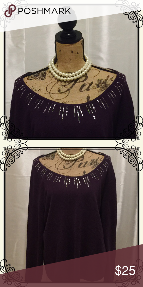 Purple scoop neck sweater with silver stud collar Take your holiday dressing in an entirely new direction this year with this soft and beautiful purple pullover scoop neck sweater. Features a beautifully designed color with silver studs to add some sparkle to your outfit. by design Sweaters Crew & Scoop Necks