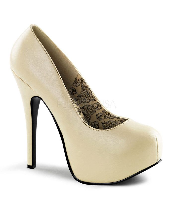 "Teeze pump in cream matte has a 5 3/4"" heel with 2"" concealed platform. Bordello Shoes offers a large selection of sleek to shiny patents, satin, sparkly glitters, sequins, fringe and rhinestone shoes"