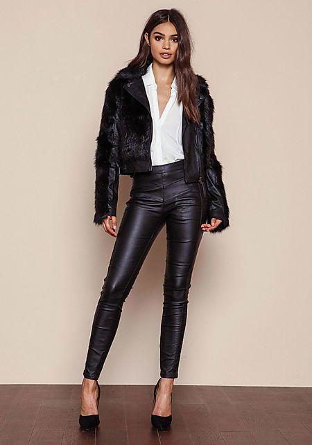 Black Faux Fur Leatherette Jacket