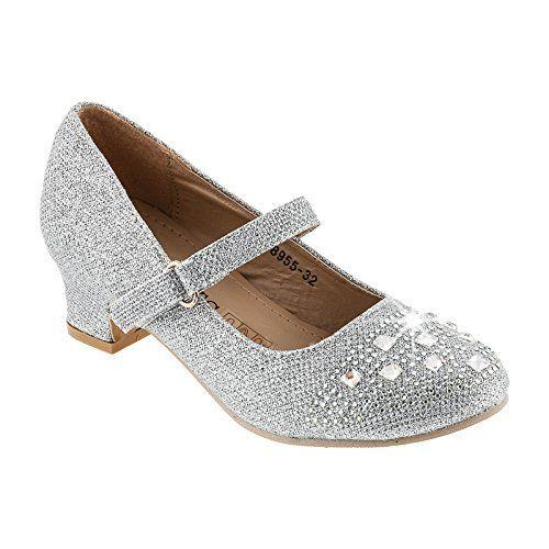 Festlich schöne Mädchen Schuhe in 4 Farben (28, #561 Silber ...