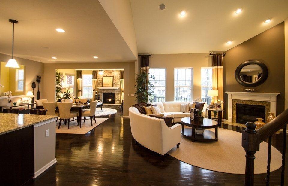 Open floor plan layout all hardwood floors through to - Living room ideas with hardwood floors ...