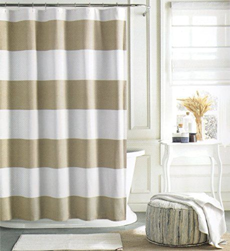 tan striped shower curtain. Tommy Hilfiger Cotton Shower Curtain Wide Stripes Fabric  Beige Tan Cabana Stripe