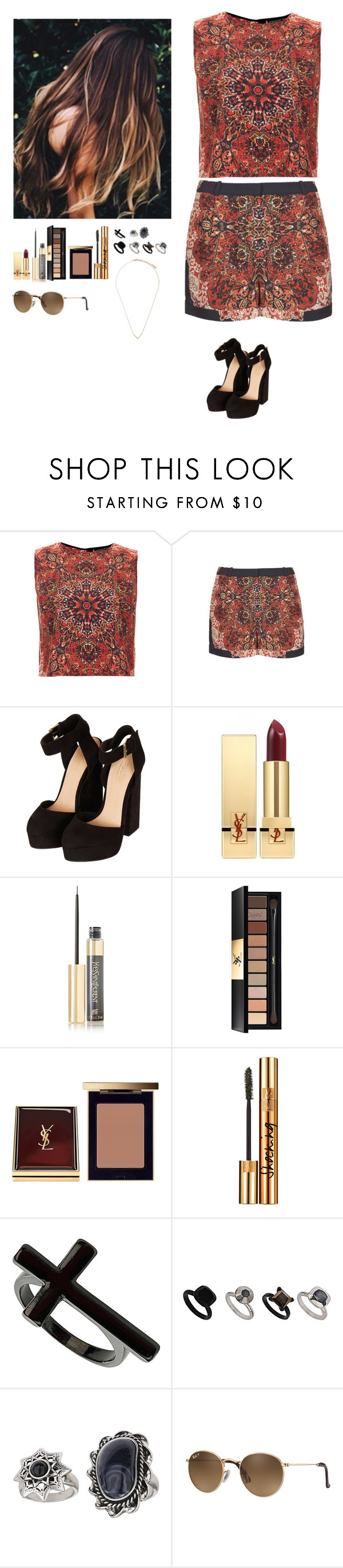 """Untitled #477"" by erin-bittencout ❤ liked on Polyvore featuring Topshop, Yves Saint Laurent and Ray-Ban"