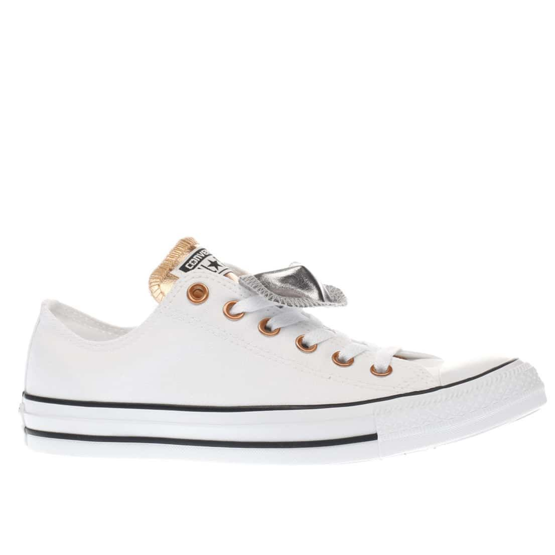e7a44664906f womens silver   bronze converse all star double tongue ox trainers ...