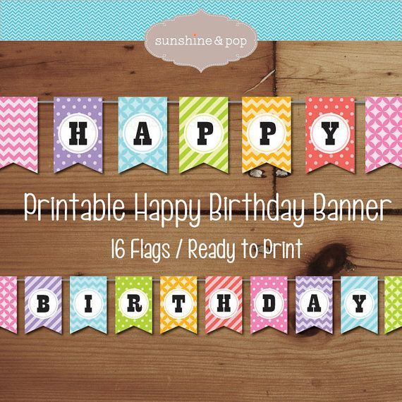 INSTANT DOWNLOAD Printable Banner Happy Birthday Decorations