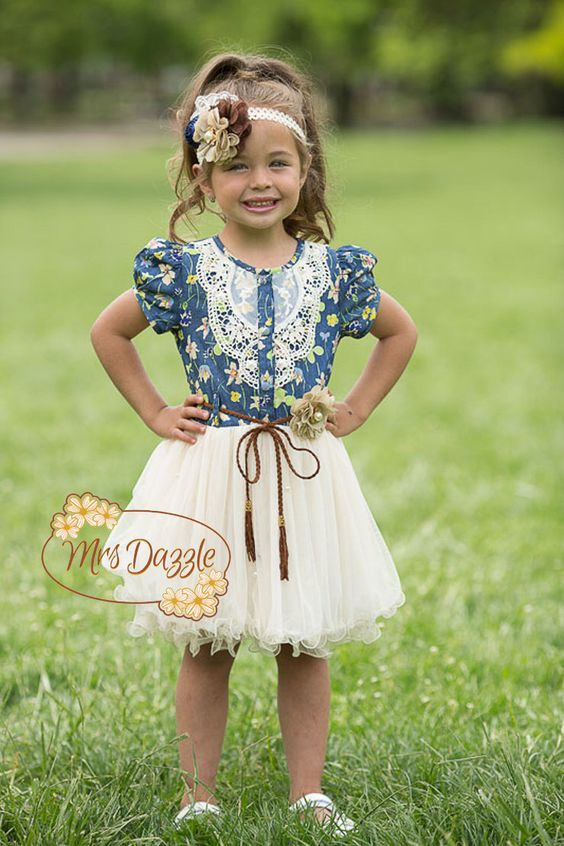 Flower Dress Denim Tutu Rustic Cow