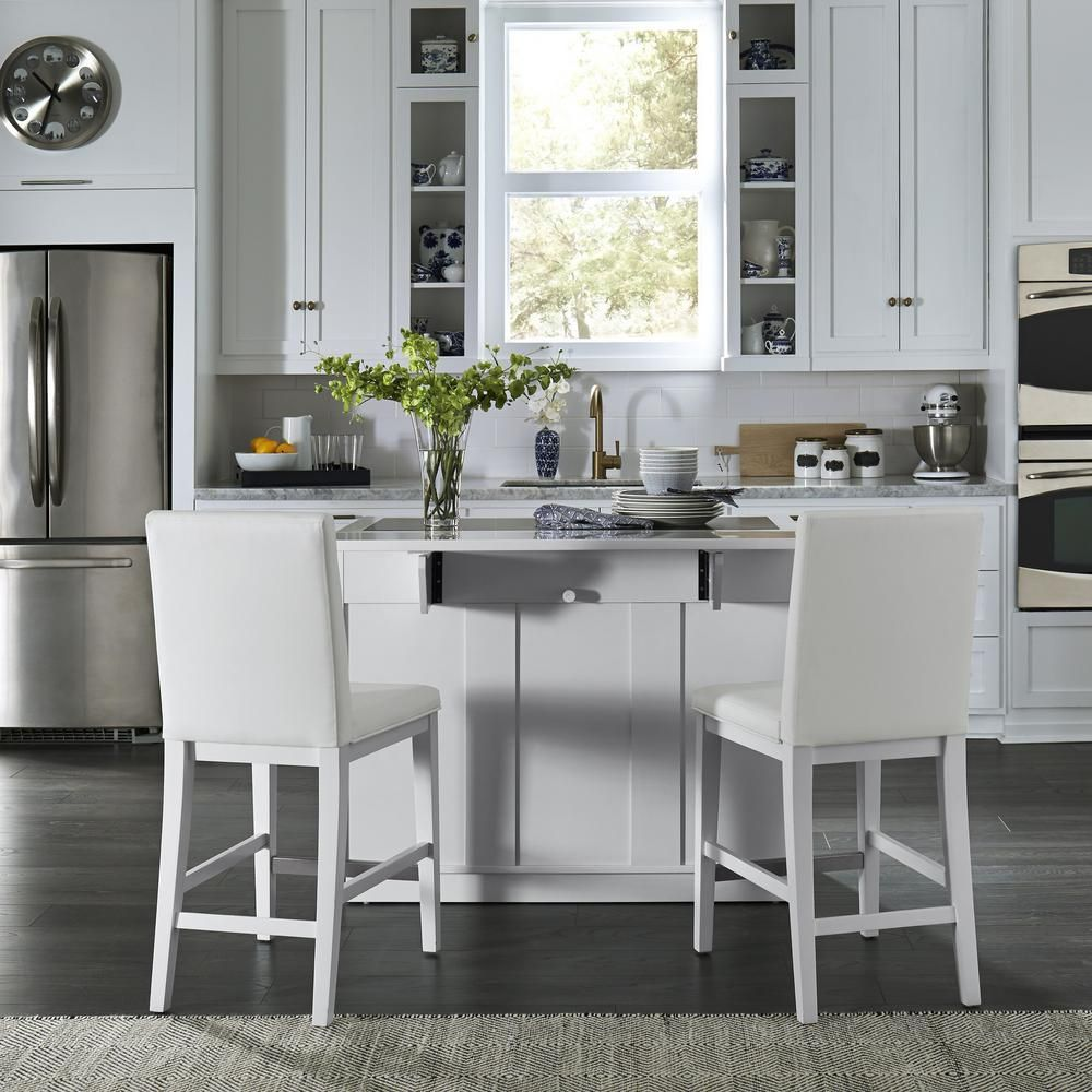 Home Styles Linear White Kitchen Island and 2Bar Stools