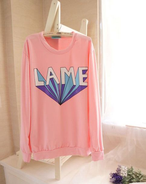 """A+comfortable+and+warm+sweater+with+""""Lame""""+printed+on+it.  Available+in+pink,+purple+and+blue.    Size  Lenght:+59cm/23.01""""  Bust:+108cm/42.12""""  Schoulder+width:+45cm/17.55""""  Sleeve+length:+63cm/24.57"""""""