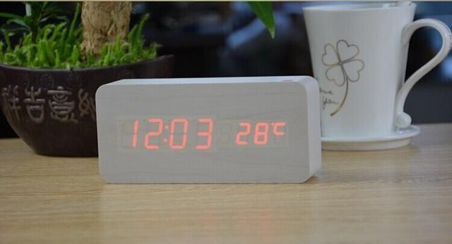 Antique Desktop Clocks With Three Alarm Group LED Silent Clock Digital  Watch Board Bedroom Wooden Bamboo