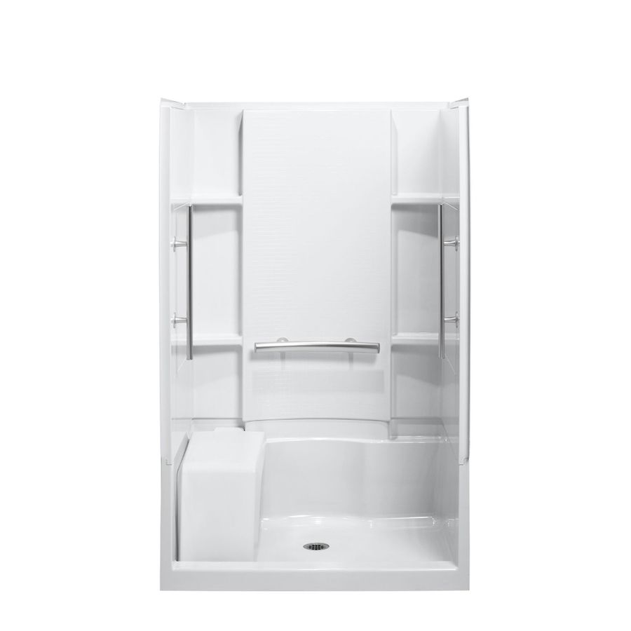 Sterling Accord White Vikrell Wall And Floor 4-Piece Alcove Shower ...
