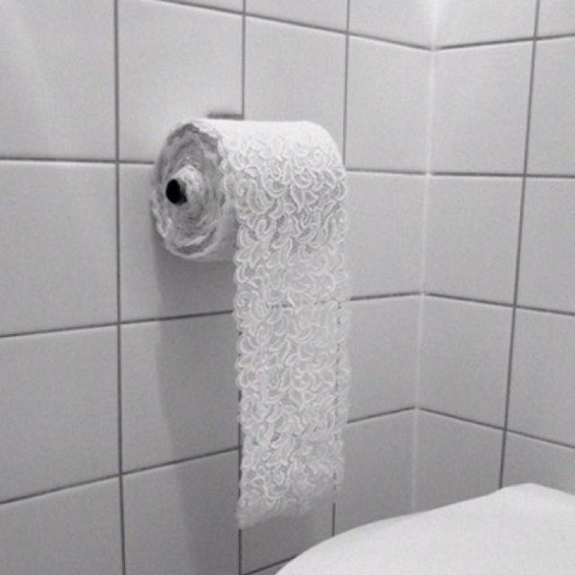 Lace toilet paper.  This is too cute!