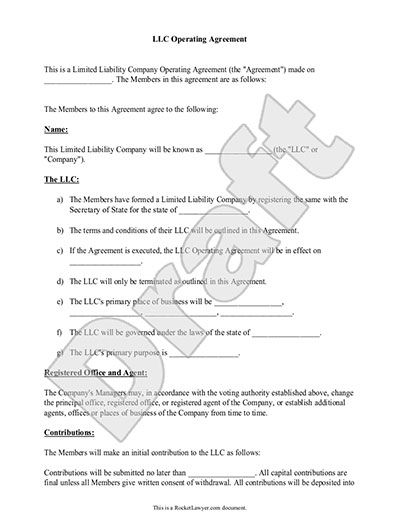 LLC Operating Agreement - Sample  Template - llc partnership - Sample Partnership Agreement