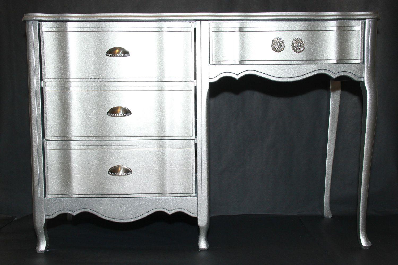 Glamorous Silver Refurbished Desk By Flippedfurniturehab On Etsy 130 00 Refurbished Desk Sideboard Woodworking Plans Refurbished Furniture