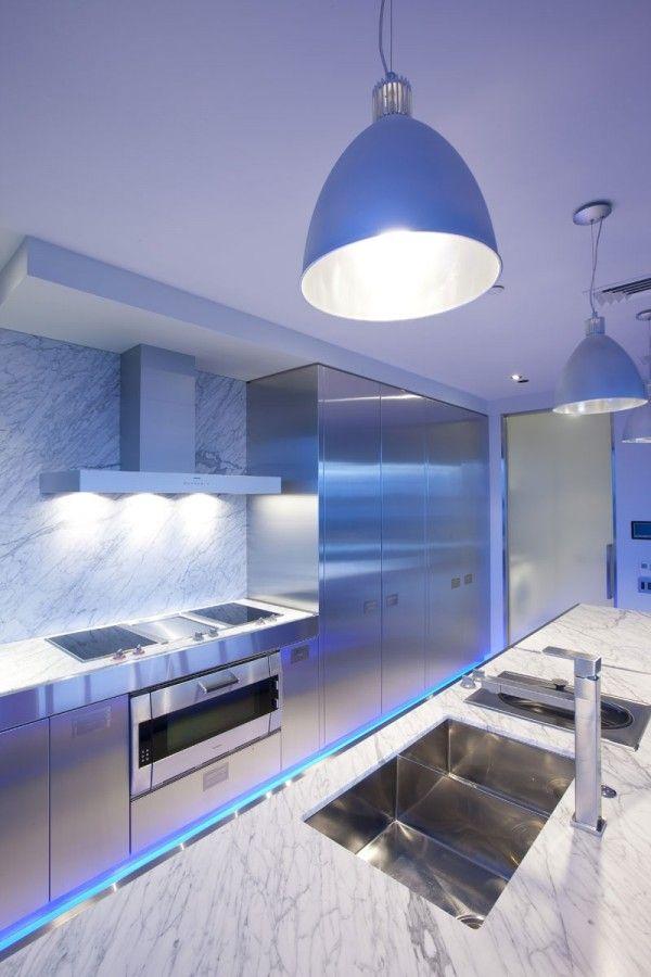 metall optik ideen led küchen illumination Theke Pinterest - küchen mit theke