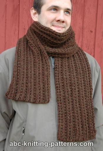 Knit Scarf Pattern Size 5 Needles : ABC Knitting Patterns - Twin Rib Scarf- Free pattern Knitting Needle Size: 10...
