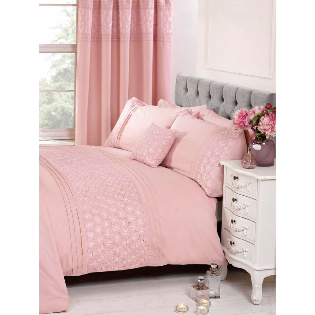 Everdean Floral Blush Pink Single Duvet Cover and
