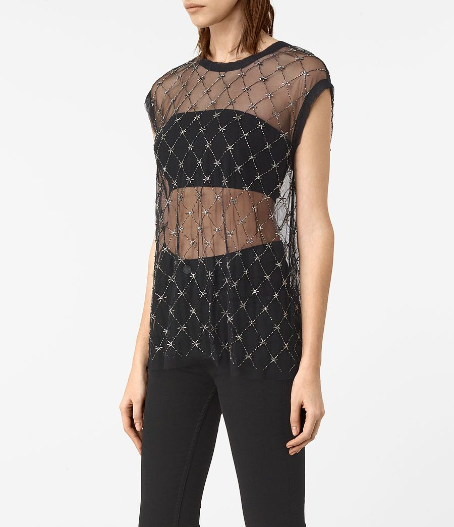 Womens Wire Embellished Tee (Black) - product_image_alt_text_3