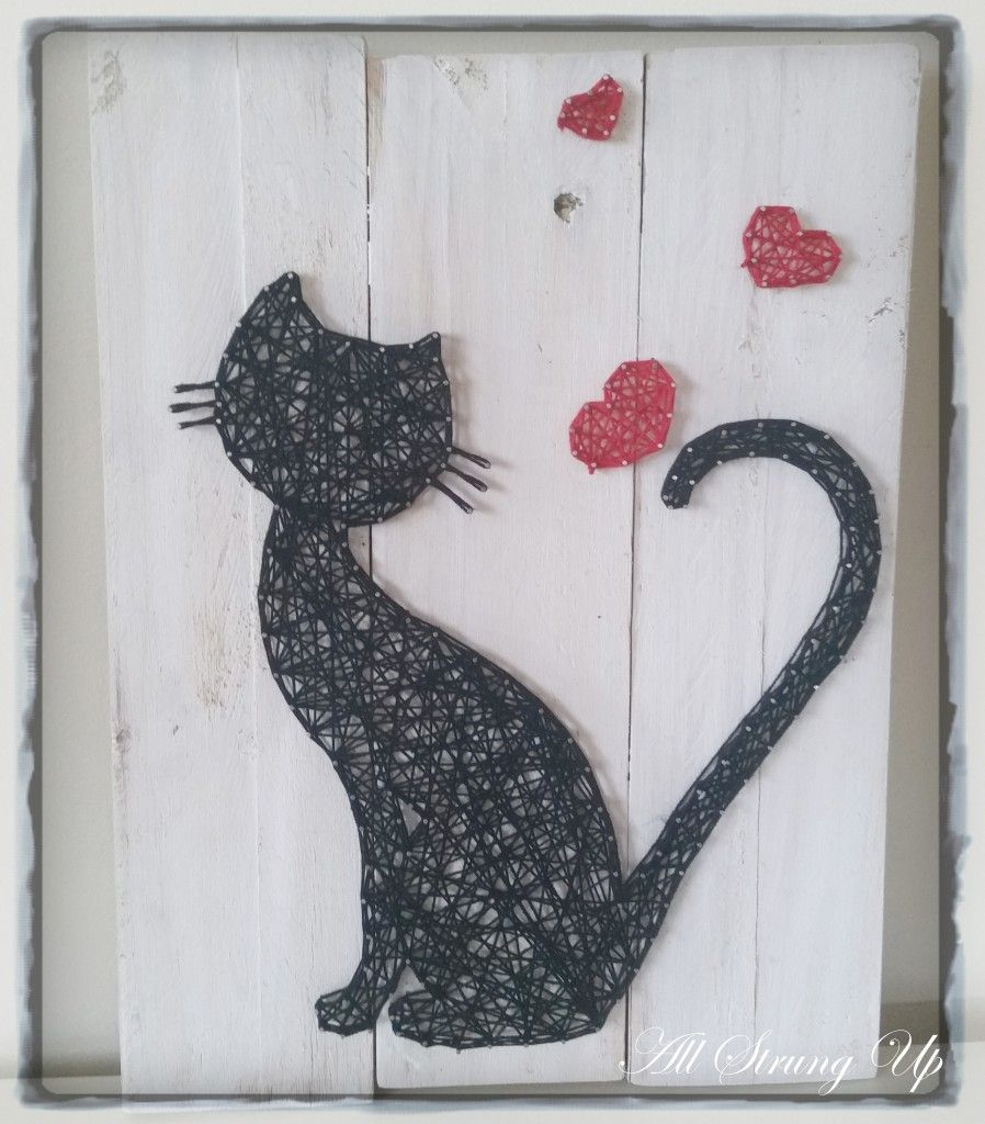 Cat Silhouette Love - String Art