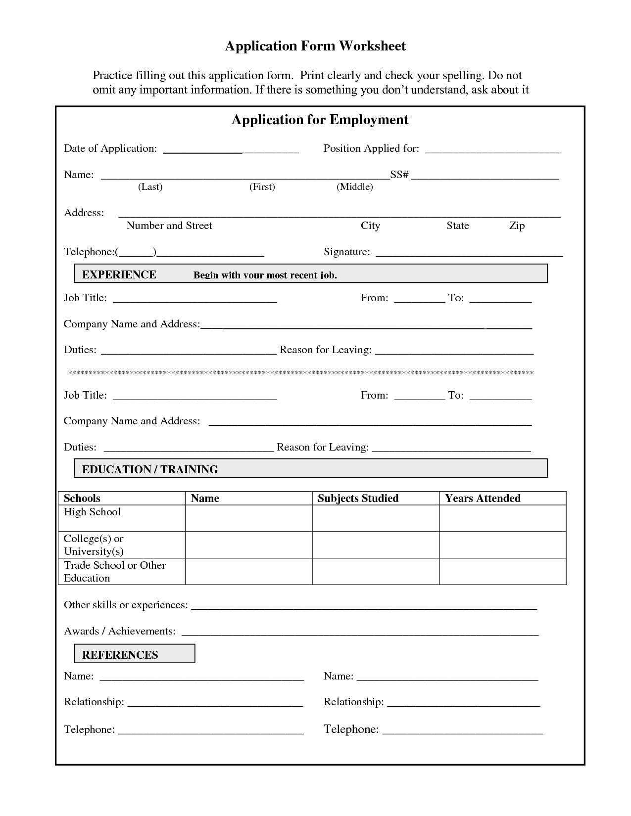 Practice Job Application Form