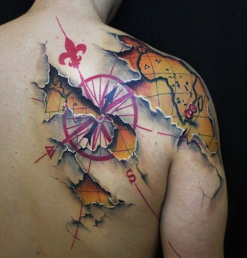 Globe and compass through the skin bad ass tats pinterest pics photos compass and map tattoo on back shoulder gumiabroncs Image collections