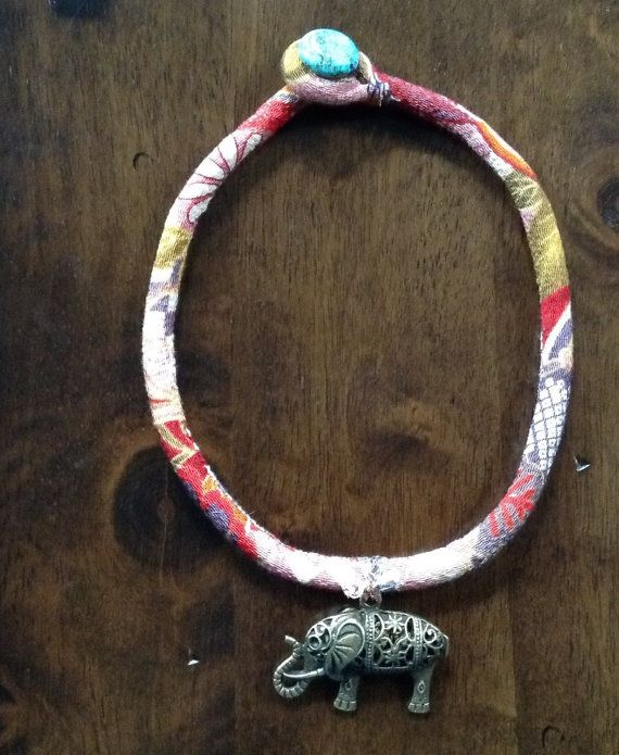 elephant fabric cord necklace by echoinggreen on Etsy
