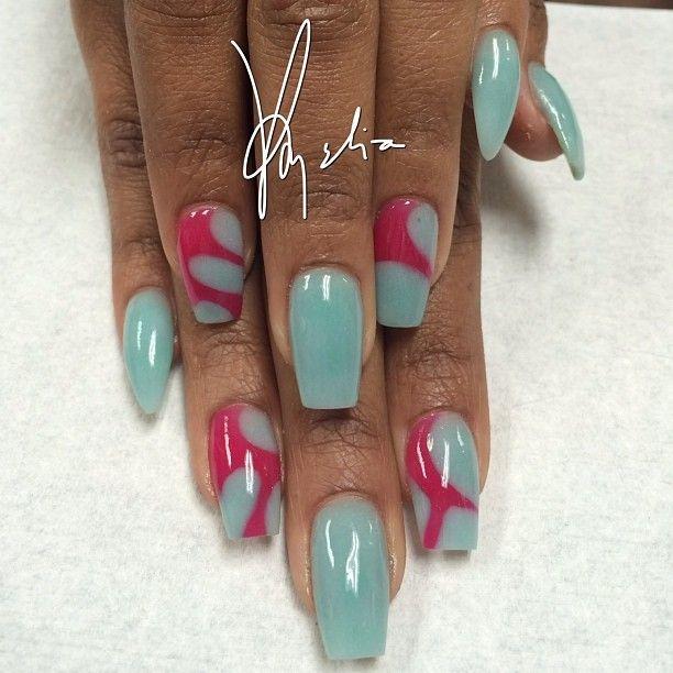 Tammy Taylor colored acrylic over tips..mint green acrylic..fuchsia ...