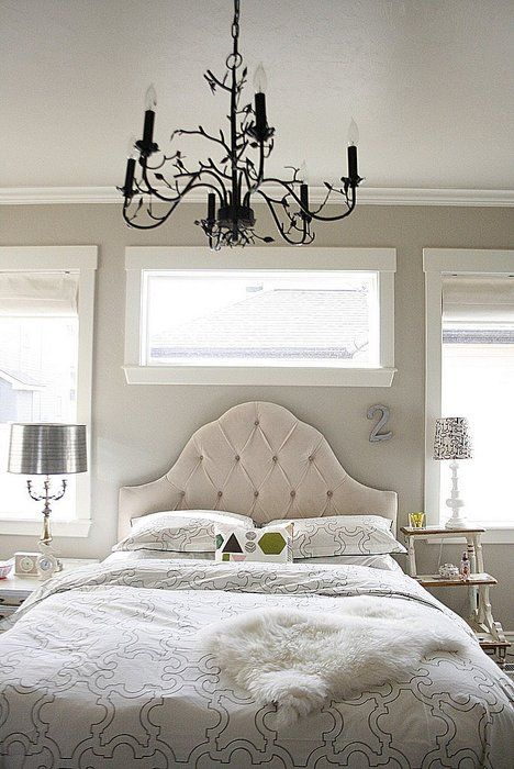 White-ish bed and white bedding
