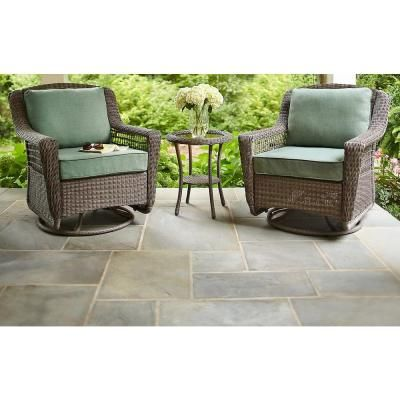 hampton bay spring haven grey all weather wicker patio swivel rocker