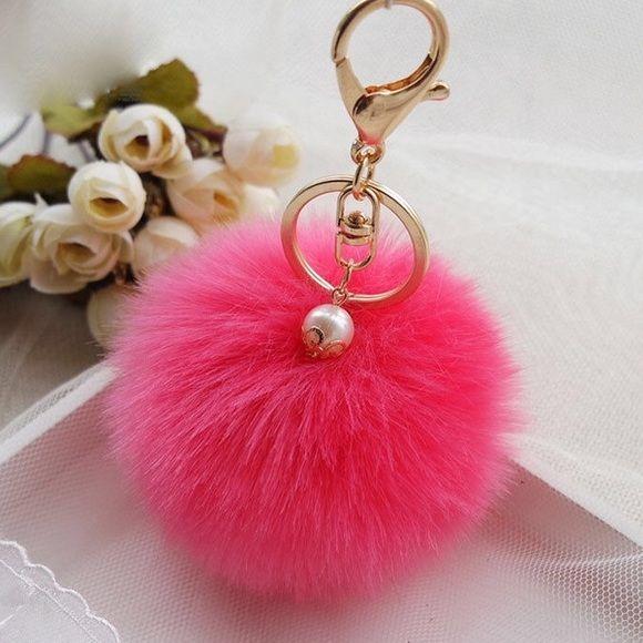 HOT Key Ring Pendant Car Soft Ball Charm Pom Handbag Rabbit Fur Key Chain