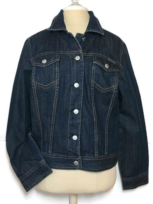 Liz Claiborne Trucker Denim Jacket XL Western Rodeo Dark Wash Cowgirl Boho    eBay