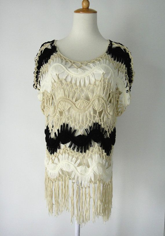 Black and White Stripped Crochet Beach Cover Up with Fringe ...